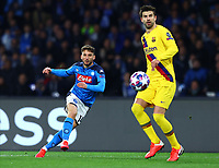 25th February 2020; Stadio San Paolo, Naples, Campania, Italy; UEFA Champions League Football, Napoli versus Barcelona; Dries Mertens of Napoli gets his shot on goal past Pique of Barca