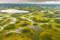 Tundra wetland geological features, southcentral Alaska, west of cook inlet.