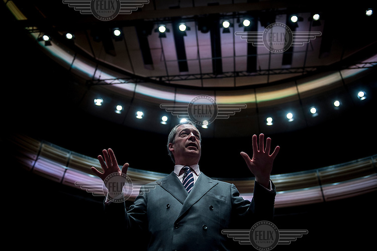 Nigel Farage speaks at a UK Independence Party (UKIP) public meeting in Gateshead.