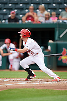 Springfield Cardinals left fielder Casey Turgeon (21) follows through on a swing during a game against the San Antonio Missions on June 4, 2017 at Hammons Field in Springfield, Missouri.  San Antonio defeated Springfield 6-1.  (Mike Janes/Four Seam Images)