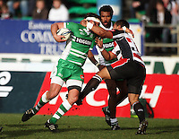 Counties' Ilaisa Maasi high tackles Doug Tietjens during the Air NZ Cup rugby match between Manawatu Turbos and Counties-Manukau Steelers at FMG Stadium, Palmerston North, New Zealand on Sunday, 2 August 2009. Photo: Dave Lintott / lintottphoto.co.nz