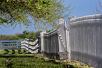 White wooden fence, Shaker Village of Pleasant Hill, Kentucky