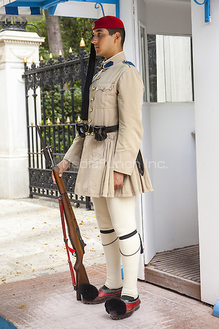 Greek soldier, an Evzone, on sentry duty outside the Presidential Palace, Athens, Greece<br /> CAP/MEL<br /> &copy;MEL/Capital Pictures /MediaPunch ***NORTH AND SOUTH AMERICA ONLY***