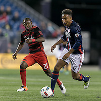 Foxborough, Massachusetts - April 27, 2016: In a Major League Soccer (MLS) match, the New England Revolution (blue/white) tied Portland Timbers (blue/red), 1-1, at Gillette Stadium.
