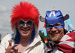 09 June 2006: Two United States fans, including one dressed as Captain America (right), head to the game. Germany played Costa Rica at the Allianz Arena in Munich, Germany in the opening match, a Group A first round game, of the 2006 FIFA World Cup.