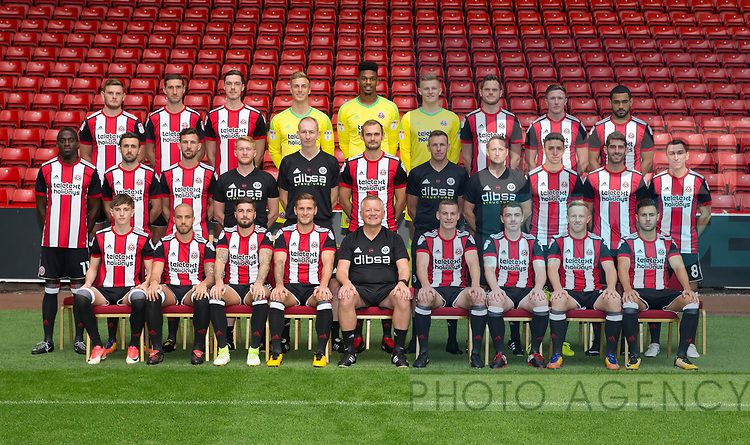 Sheffield Utd first team squad during the 2017/18 Photocall at Bramall Lane Stadium, Sheffield. Picture date 7th September 2017. Picture credit should read: Simon Bellis/Sportimage