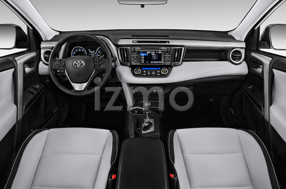 Stock photo of straight dashboard view of 2018 Toyota RAV4 XLE 5 Door SUV Dashboard