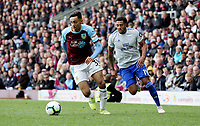 Burnley's Dwight McNeil gets past Cardiff City's Nathaniel Mendez-Laing on his way to setting up Chris Wood to score his sides second goal <br /> <br /> Photographer Rich Linley/CameraSport<br /> <br /> The Premier League - Saturday 13th April 2019 - Burnley v Cardiff City - Turf Moor - Burnley<br /> <br /> World Copyright © 2019 CameraSport. All rights reserved. 43 Linden Ave. Countesthorpe. Leicester. England. LE8 5PG - Tel: +44 (0) 116 277 4147 - admin@camerasport.com - www.camerasport.com