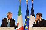 France's President Emmanuel Macron and Italy's Prime Minister Paolo Gentiloni gives a press conference at the France Italy Summit - Vertice Italo-Francese - Sommet Franco-Italien, in Lyon on September 27, 2017.