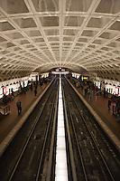 Washington Metropolitan Area Transit Authority (WMATA) Metro Center station interior and tracks.