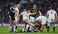 Twickenham, United Kingdom.  Ben YOUNGS, Kicking clear during the   Old Mutual Wealth Series match: England vs South Africa, at the RFU Stadium, Twickenham, England, Saturday, 12.11.2016<br /> <br /> [Mandatory Credit; Peter Spurrier/Intersport-images]
