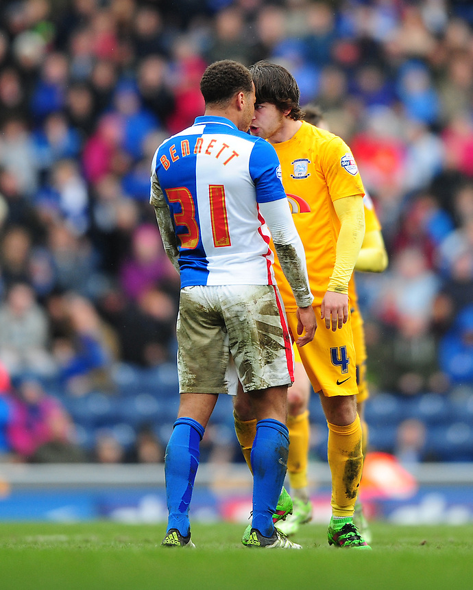 Tempers flare between Blackburn Rovers&rsquo; Elliott Bennett and Preston North End&rsquo;s Ben Pearson<br /> <br /> Photographer Chris Vaughan/CameraSport<br /> <br /> Football - The Football League Sky Bet Championship - Blackburn Rovers v Preston North End - Saturday 2nd April 2016 - Ewood Park - Blackburn<br /> <br /> &copy; CameraSport - 43 Linden Ave. Countesthorpe. Leicester. England. LE8 5PG - Tel: +44 (0) 116 277 4147 - admin@camerasport.com - www.camerasport.com