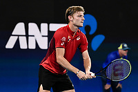 10th January 2020; Sydney Olympic Park Tennis Centre, Sydney, New South Wales, Australia; ATP Cup Australia, Sydney, Day 8; Belgium versus Spain;David Goffin of Belgium versus Rafael Nadal of Spain; David Goffin of Belgium prepares to receive a serve from Rafael Nadal of Spain - Editorial Use