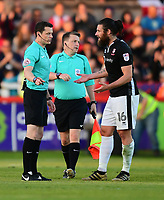 Lincoln City's Michael Bostwick, right, speaks to Referee Darren England at half time<br /> <br /> Photographer Chris Vaughan/CameraSport<br /> <br /> The EFL Sky Bet League Two Play Off Second Leg - Exeter City v Lincoln City - Thursday 17th May 2018 - St James Park - Exeter<br /> <br /> World Copyright &copy; 2018 CameraSport. All rights reserved. 43 Linden Ave. Countesthorpe. Leicester. England. LE8 5PG - Tel: +44 (0) 116 277 4147 - admin@camerasport.com - www.camerasport.com