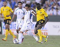 El Salvador forward Lester Blanco (17) goes against Jamaica defender Dicoy Williams (3)  Jamaica defeated El Salvador 2-0 in a international friendly match at RFK Stadium, Wednesday August 15, 2012.