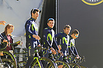 Movistar Team on stage at sign on before the 101st edition of the Tour of Flanders 2017 running 261km from Antwerp to Oudenaarde, Flanders, Belgium. 26th March 2017.<br /> Picture: Eoin Clarke | Cyclefile<br /> <br /> <br /> All photos usage must carry mandatory copyright credit (&copy; Cyclefile | Eoin Clarke)