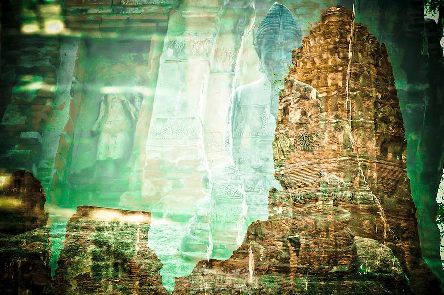 artistic, multiple exposure, thailand, historical, landmarks, emotive, creative, religious, spiritual, worship, travel, tourism, buddhism