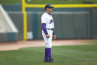 Winston-Salem Dash manager Omar Vizquel (13) coaches third base during the game against the Salem Red Sox at BB&T Ballpark on April 22, 2018 in Winston-Salem, North Carolina.  The Red Sox defeated the Dash 6-4 in 10 innings.  (Brian Westerholt/Four Seam Images)