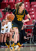 COLLEGE PARK, MD - FEBRUARY 13: Kate Martin #20 of Iowa on the attack during a game between Iowa and Maryland at Xfinity Center on February 13, 2020 in College Park, Maryland.