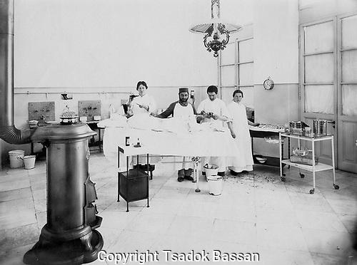 Interior of operating theatre at Sharei Zedek Hospital, Jerusalem. Photograph by Tsadok Bassan, c. 1910