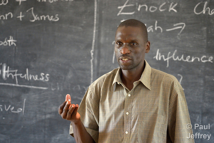 Brother Julius Oluoch, an Edmund Rice Christian Brother from Kenya, teaching a class at a teacher training institute in Yambio, South Sudan. The newly independent country faces a critical shortage of trained teachers, and several religious groups are pitching in to help. The institute is sponsored by Solidarity with Solidarity with South Sudan, an international network of Catholic groups providing training for teachers, health care workers, and pastoral agents in South Sudan.