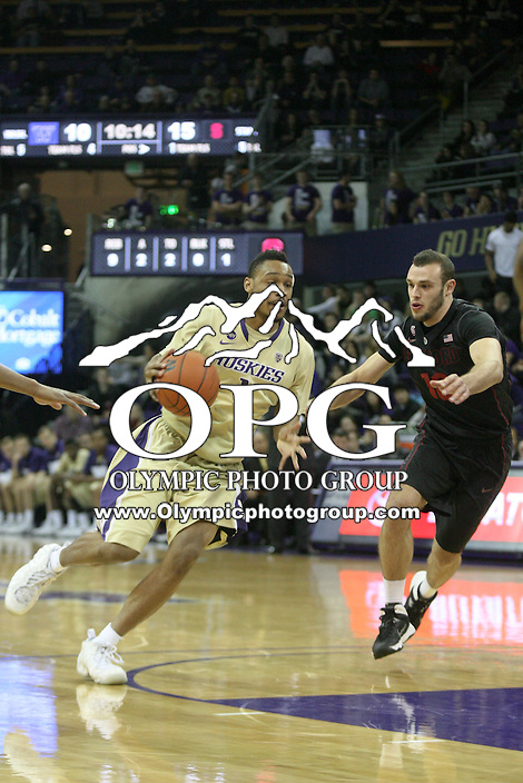 February 12, 2014:   Washington's Darin Johnson against Stanford.  Washington defeated Stanford 64-60 at Alaska Airlines Arena in Seattle, Washington.