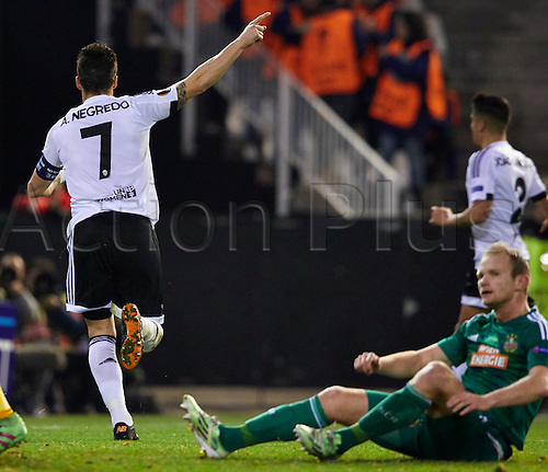 18.02.2016. Mestalla Stadium, Valencia, Spain. Europa League. Valencia versus Rapid Wien.  Forward Alvaro Negredo of Valencia CF celebrates after scoring the fourth goal in the 29th minute