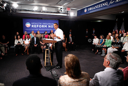 Washington, DC - August 20, 2009 -- United States President Barack Obama speaks during a town hall meeting on healthcare at the headquarters of the Democratic National Committee August 20, 2009 in Washington, DC. Obama answered questions from people on his plan for healthcare reform during the town hall.  .Credit: Alex Wong / Pool via CNP
