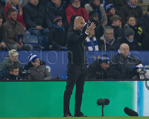 19th December 2017, King Power Stadium, Leicester, England; Carabao Cup quarter-final, Leicester City versus Manchester City; Pep Guardiola manager of Manchester City gives out instructions to his team