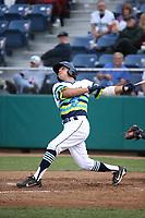 Joe Venturino (14) of the Everett AquaSox bats against the Boise Hawks at Everett Memorial Stadium on July 21, 2017 in Everett, Washington. Boise defeated Everett, 10-4. (Larry Goren/Four Seam Images)