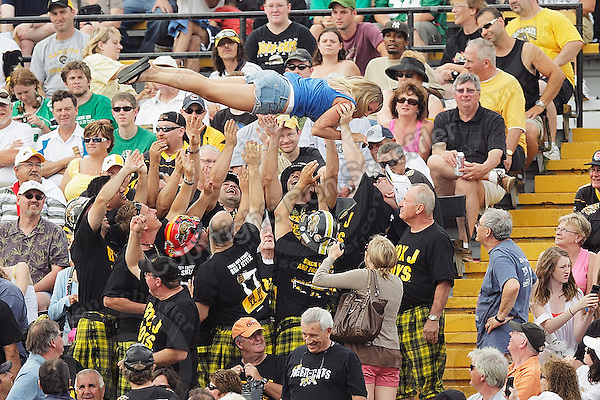 July 12, 2008; Hamilton, ON, CAN; The Box J Boys toss a woman in the air during the CFL football game between the Saskatchewan Roughriders and Hamilton Tiger-Cats at Ivor Wynne Stadium. The Roughriders defeated the Tiger-Cats 33-28. Mandatory Credit: Ron Scheffler.