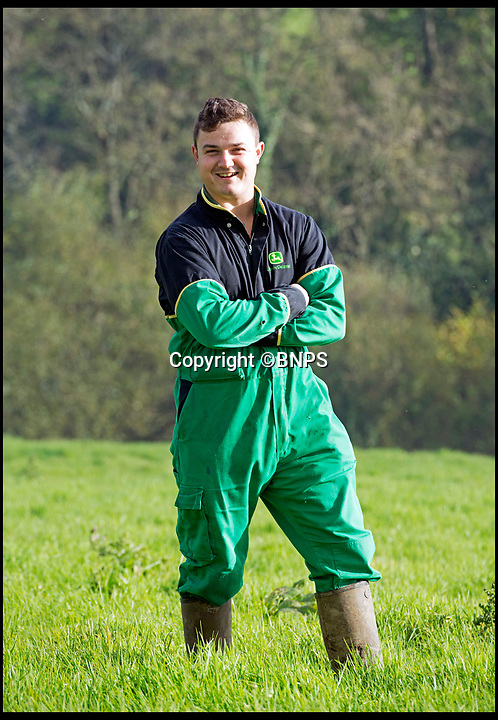 BNPS.co.uk (01202 558833)Pic: LeeMcLean/BNPS<br /> <br /> Farmer Josh Sibley (22) at Stoke Water Farm.<br /> <br /> Winnie the wonder dog...<br /> <br /> A pregnant sheepdog had a miracle escape after she was run over by a 15-tonne tractor - and survived because she was pushed into the soft mud.<br /> <br /> Shepherd Josh Sibley feared the worst when Winnie, a Border Collie, chased a rabbit under the 2ft wide tyre of a forage harvester.<br /> <br /> Luckily, because the ground was so soft Winnie was pinned down into the mud rather than being crushed to death.