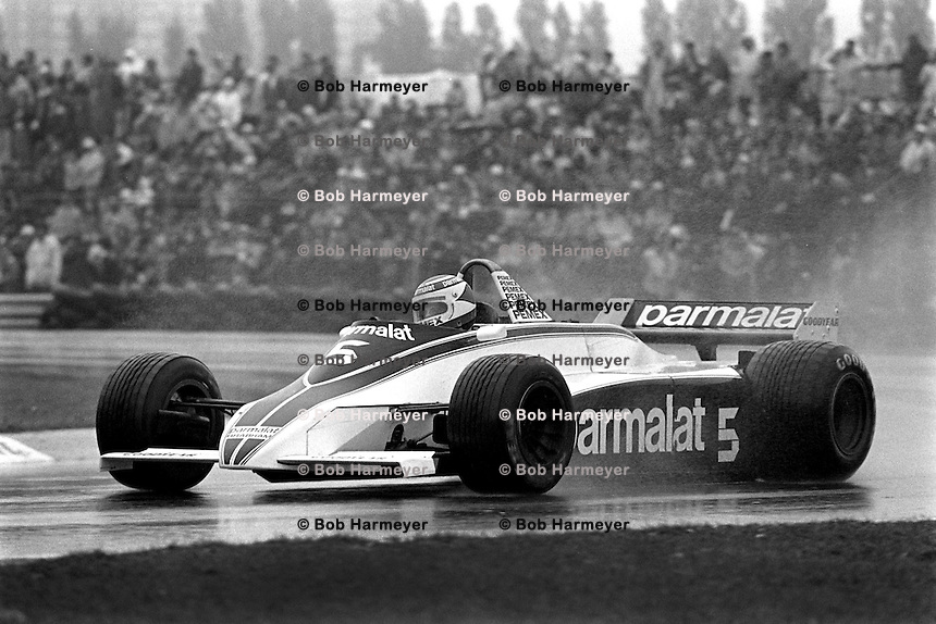 MONTREAL, CANADA - SEPTEMBER 27: Nelson Piquet drives the Brabham BT49C 15/Ford Cosworth during the 1981 Canadian Grand Prix FIA Formula One World Championship race at the Circuit Île Notre-Dame temporary circuit in Montreal, Canada, on September 27, 1981.