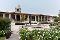 Exterior of the Johnson Student Center, facing Branca Patio and the Green Bean, as seen from the Academic Quad, Dec. 3, 2019.<br /> (Photo by Marc Campos, Occidental College Photographer)