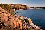 Autumn color on the rocky coast of Downeast Maine, seen from the Ocean Path in Acadia National Park, ME, USA
