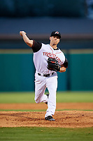 Arkansas Travelers starting pitcher Brett Ash (26) delivers a pitch during a game against the Midland RockHounds on May 25, 2017 at Dickey-Stephens Park in Little Rock, Arkansas.  Midland defeated Arkansas 8-1.  (Mike Janes/Four Seam Images)