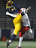 Owen Glascoe #88 of Massapequa, left, makes an acrobatic catch to set up a first and goal situation for the Chiefs in the Nassau County Conference I varsity football semifinals against Freeport at Hofstra University on Saturday, Nov. 11, 2017. Massapequa scored later in the drive to take an early 6-0 lead. The first quarter ended with the teams tied 6-6.