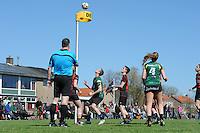 KORFBAL: REDUZUM: Sportpark Reduzum, 28-04-2013, Veld Hoofdklasse A, KV Mid Fryslân-LDODK AH Gorredijk, Eindstand 13-19, André Zwart (#15 | LDODK), Sjoerd Pool (#17 | MF), Jildou Slagmann (#4 | LDODK), ©foto Martin de Jong