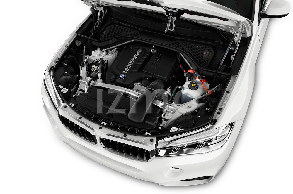 Car Stock 2018 BMW X6 sDrive35i 5 Door SUV Engine  high angle detail view