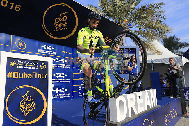 Biketrial World Champion Vittorio Brumotti entertains the crowd before the start of Stage 1, the Dubai Silicon Oasis Stage, of the 2016 Dubai Tour starting at the Dubai International Marine Club and running 175km to Fujairah, Mina Seyahi, Dubai, United Arab Emirates. 3rd February 2016.<br /> Picture: Eoin Clarke | Newsfile<br /> <br /> <br /> All photos usage must carry mandatory copyright credit (&copy; Newsfile | Eoin Clarke)