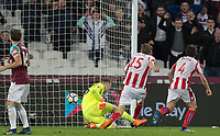 Peter Crouch of Stoke City scores a goal during the Premier League match between West Ham United and Stoke City at the Olympic Park, London, England on 16 April 2018. Photo by Andy Rowland.