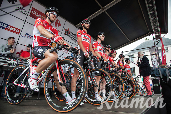 Team Lotto-Soudal on the presentation podium<br /> <br /> 1st Dwars door het Hageland 2016<br /> (pics by L&eacute;on Van Bon)
