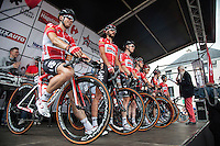 Team Lotto-Soudal on the presentation podium<br /> <br /> 1st Dwars door het Hageland 2016<br /> (pics by Léon Van Bon)