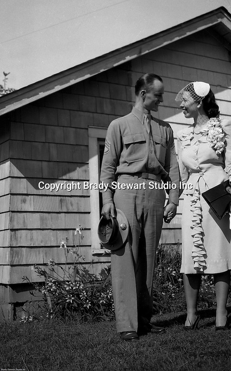 Valley Cottage NY - Brady and Marjorie Stewart on their wedding day - June 1944.  Brady and Marjorie were married near New York City where Brady was stationed during the war.  The reception was at Marjorie's home in Valley Cottage, New York.  The parents, Jack and Catherine Zapp and Brady and Sarah Stewart were in attendance.