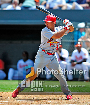 13 March 2009: St. Louis Cardinals' outfielder Jon Jay in action during a Spring Training game against the Baltimore Orioles at Fort Lauderdale Stadium in Fort Lauderdale, Florida. The Cardinals defeated the Orioles 6-5 in the Grapefruit League matchup. Mandatory Photo Credit: Ed Wolfstein Photo