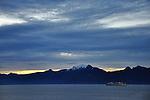 Alaska sunrise alongside another ship