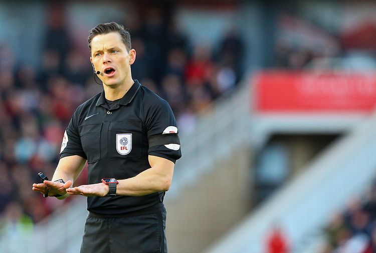 Referee Darren England<br /> <br /> Photographer Alex Dodd/CameraSport<br /> <br /> The EFL Sky Bet Championship - Middlesbrough v Leeds United - Saturday 9th February 2019 - Riverside Stadium - Middlesbrough<br /> <br /> World Copyright © 2019 CameraSport. All rights reserved. 43 Linden Ave. Countesthorpe. Leicester. England. LE8 5PG - Tel: +44 (0) 116 277 4147 - admin@camerasport.com - www.camerasport.com