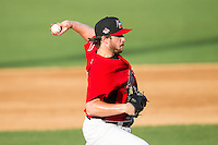 Hickory Crawdads starting pitcher Chad Bell (30) delivers a pitch to the plate against the Charleston RiverDogs at L.P. Frans Stadium on May 24, 2014 in Hickory, North Carolina.  The Crawdads defeated the RiverDogs 7-3.  (Brian Westerholt/Four Seam Images)
