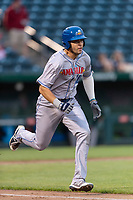Amarillo Sod Poodles second baseman Hudson Potts (10) hustles down the first base line during a Texas League game against the Springfield Cardinals on April 25, 2019 at Hammons Field in Springfield, Missouri. Springfield defeated Amarillo 8-0. (Zachary Lucy/Four Seam Images)