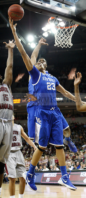 UK forward Anthony Davis attempts to shoot the ball during the first half of the University of Kentucky Men's basketball game against University of South Carolina on 2/4/12 in Columbia, SC. Photo by Quianna Lige | Staff